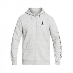 MOSKOVA ZIP HOODIE HEATHER GREY - BLACK